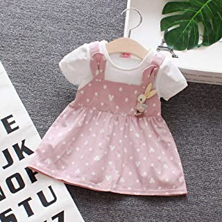 DSstyles Toddler Girls  Two-Piece Dress Short Sleeves Suspender Skirt with Dots Decorated Pink Purple 80cm