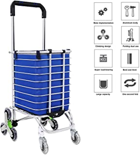 Elever Folding Travel Shopping Cart, 【US Stock】Stair Climbing Laundry Grocery Utility Cart (Blue 1)