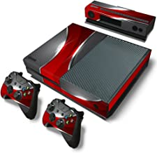 ZoomHit Xbox One Console Skin Decal Sticker Red and Chrome + 2 Controller & Kinect Skins Set