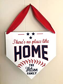 Wooden Sign for Home Decor There's No Place Like Home Baseball Sign Personalized Sports Sign Home Plate Sign Custom Baseball Sign Boys Bedroom Baseball Decor Sayings Wall Sign