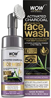 WOW Skin Science Charcoal Foaming Face Wash with Built-In Face Brush for Deep Cleansing - No Parabens, Sulphate, Silicones...