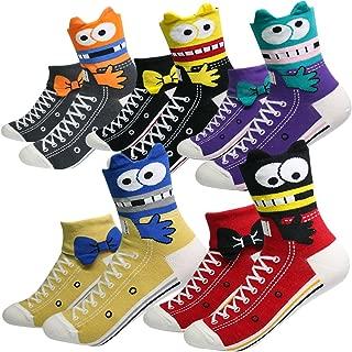 Women's Girls Cute Animal Designed Funny Novelty Crew Socks, Cat Dog Owl Panda Pattern Gift Ideas Size 6-9