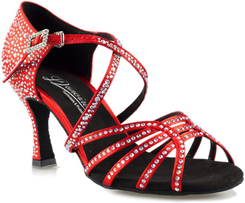 Dancine Flame Ballroom Latin Salsa Bachata Dance shoes,Double-Layer Heel Tip,3   7.5cm Red