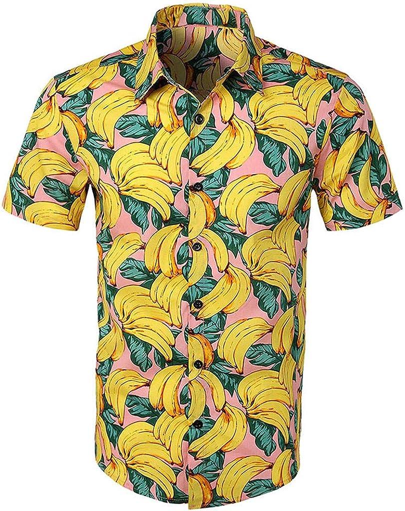 YEBIRAL Polos Manga Corta Hombre Manga Corta Básico Polo con Botones Camisa Hawaiana Hombre Camiseta Fruta Floral Estampado Formales Tops