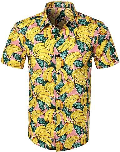 HULKY Camisas Hawaianas Hombre Camisas Hombre Manga Corta ...