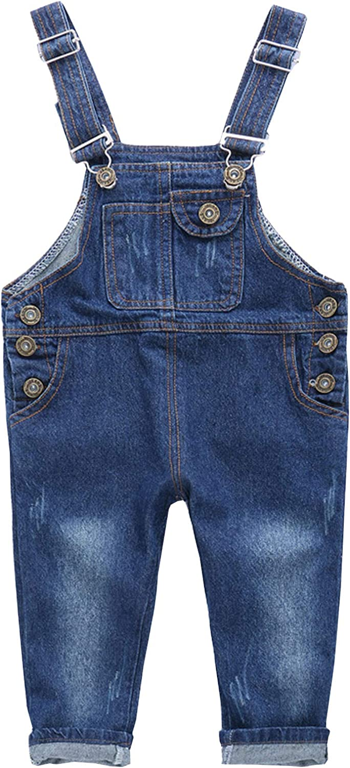 NABER Kids Boys' Casual Denim Overall Ajustable Straps Jeans Overall Bib Age 3-13 Years