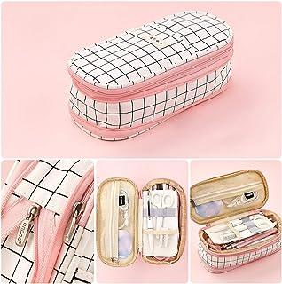 Oyachic Telescopic Pencil Case Large Capacity Zipper Pen Bag Canvas Makeup Stationery Box Office School Supplies Pouch (Pink)
