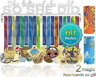 Stainless Steel Medal Storage Rack Medal Hanger Sports Medal Holder Medal Hanger Display Professional Wall Mount Race Medal Matte Black Metal Holders,Hanger for Medals,15.75/×5.51/×0.08in