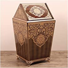 Recycling Bin Round Wooden Trash Can with Lid 12L Trash Bin for Living Room Bedroom Study Kitchen Bathroom Vintage Rubbish...