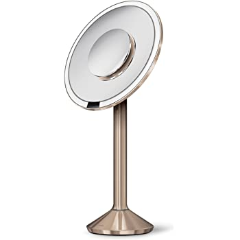 """simplehuman 8"""" Pro Round Sensor Makeup Mirror 5X + 10x Dual Magnification, Rechargeable and Cordless, Rose Gold Stainless Steel"""