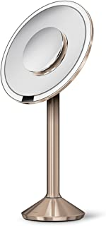 """simplehuman Sensor Lighted Makeup Vanity Mirror Pro 8"""" Round, 5X + 10x Dual Magnification, Rose Gold Stainless Steel, Rech..."""