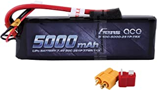 Gens ace 5000mAh 7.4V 2S 50C LiPo Battery Pack with XT60 and Deans Plug for RC Cars Airplane Boat