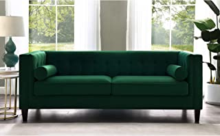 Inspired Home Green Velvet Sofa - Design: Lotte | Tufted | Square Arms | Tapered Legs | Contemporary