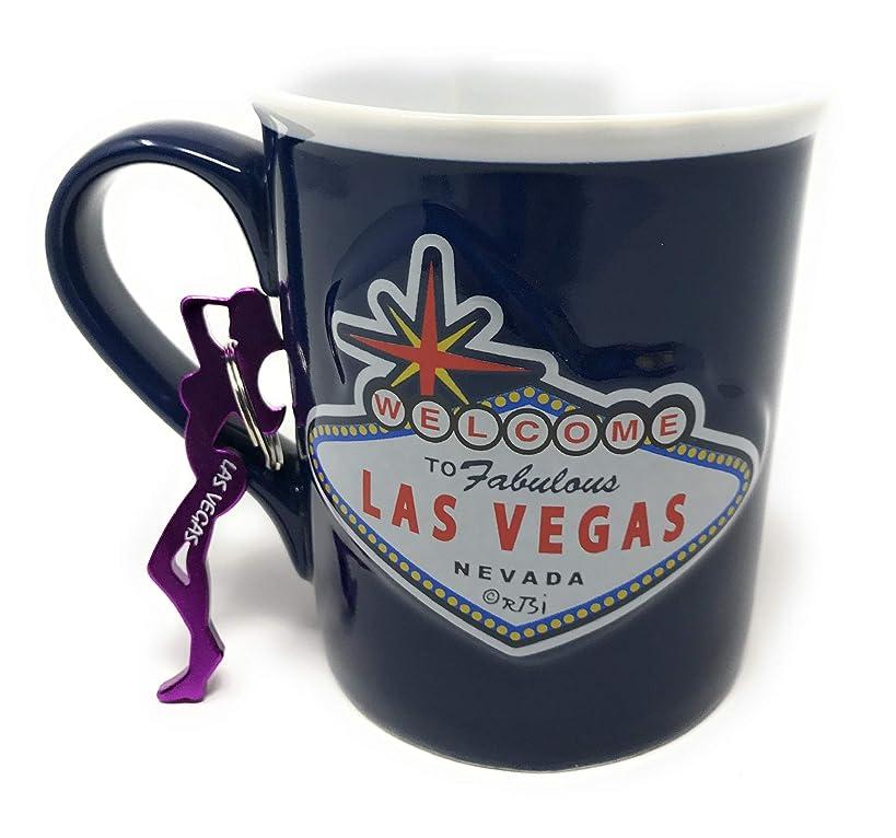 Las Vegas 15oz blue embossed Mug with keychain