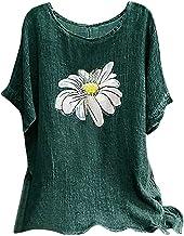 Dames madeliefje print 3/4 mouwen katoen linnen ronde hals blouse top casual tuniek top T-shirt in oversized