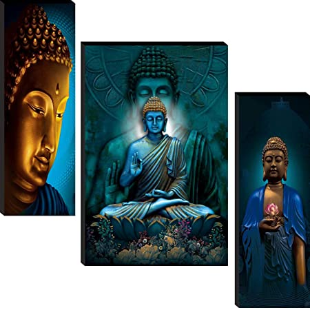 SND Wood Figures, Religion, Flowers, Abstract Painting, Multicolour, Lord Buddha, Standard