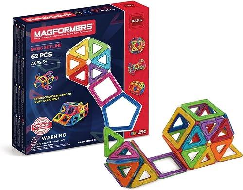 Unbekannt Magformers 703001 Basic Konstruktionsspielzeug, 62-teilig, Mehrfarbig