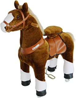 PonyCycle Official Riding Horse Toy No Battery No Electricity Mechanical Pony Brown with White Hoof Giddy up Pony Plush Walking Animal for Age 3-5 Years Small Size - N3151