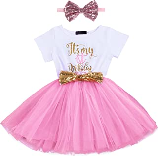 Baby Girl Newborn Princess It's My 1st/2nd Birthday Party Cake Smash Outfit Shinny Printed Sequin Bow Tulle Tutu Dress Fan...