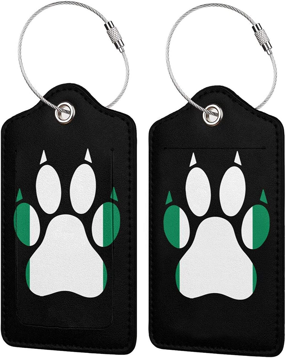 Nigeria Flag Many popular brands Dog Paw 5 ☆ popular PU Leather with Priva Baggage Rectangle tag