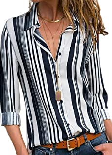 Astylish Women V Neck Striped Roll up Sleeve Button Down Blouses Top