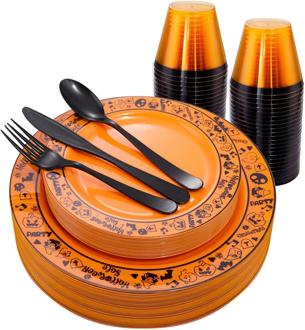 Morejoy Halloween Plastic sale Plates Silverware Gold Free shipping anywhere in the nation Cup