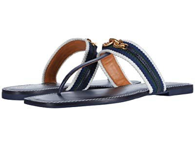Tory Burch Jessa Thong Sandal (Perfect Navy/Banyan Green Multi) Women