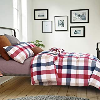 OTOB Colorful Red Blue Plaid Checkered Bedding Set for Adults 3 Piece Lightweight Washed Cotton Gingham Plaid Duvet Cover Sets with Pillow Shams Zipper Closure 4 Corner Ties, Twin, Red Blue