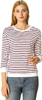 Allegra K Women's Basic Long Sleeve Crew Neck Contrast Striped T-Shirt