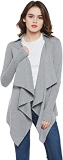HYPERNATION Grey Color Cotton Blend Waterfall Shrug for Women(HYPW01744)