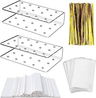 Fox Claw 2 Packs Lollipop Holder Cake Pop Stand Display 100PCS Clear Treats Bags 100PCS Lollipop Sticks and 100PCS Gold Me...