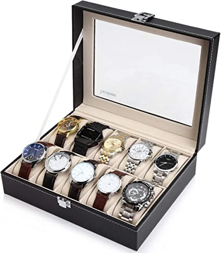 Readaeer 6/10/12 Slot PU Leather Watch Box Display Case Jewelry Organizer with Glass Top (Black, 10 Slot)