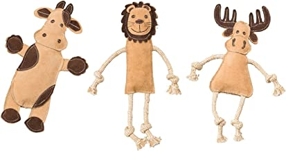 Ethical Pets Dura-Fused Leather Assorted Barnyard, Jungle, and Forest Animals Dog Toys (Bundle)