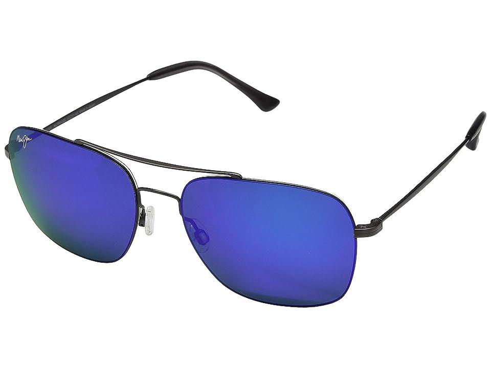 Maui Jim Lava Tube (Satin Dark Gunmetal/Blue Hawaii) Athletic Performance Sport Sunglasses