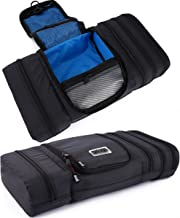 Pro Packing Cubes Travel Toiletry Bag - Packs Flat To Save Space - Waterproof Hanging Toiletries Kit For Men and Women (Graphite-Blue)