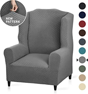 YEMYHOM 1 Piece Stretch Wingback Chair Slipcover Latest Jacquard Design Wing Chair Cover Non Slip Furniture Protector with Foam Rods for Living Room (Wing Chair, Light Gray)