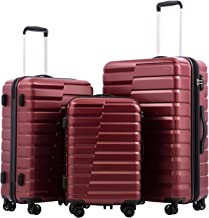 COOLIFE Luggage Expandable Suitcase PC+ABS 3 Piece Set with TSA Lock Spinner Carry on new fashion design (wine red, 3 piece set)