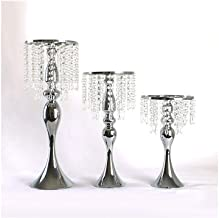Candlestick Holders Acrylic Imitation Crystal Candle Holder Stand (Set of 2) Gold/Silver Flower Vase Wedding Candlestick D...