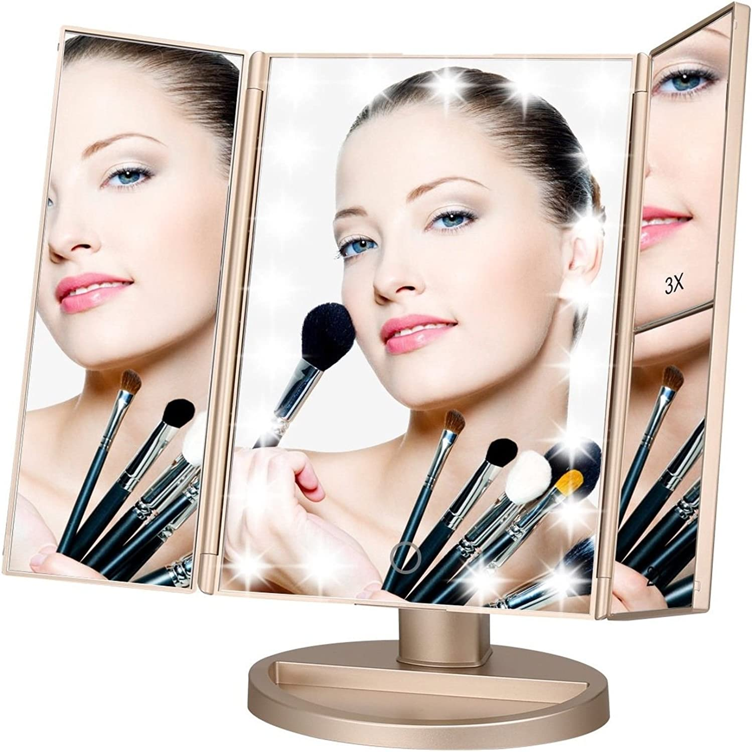 Makeup Mirror,Lighted Touch Screen LED Table -Three Panel