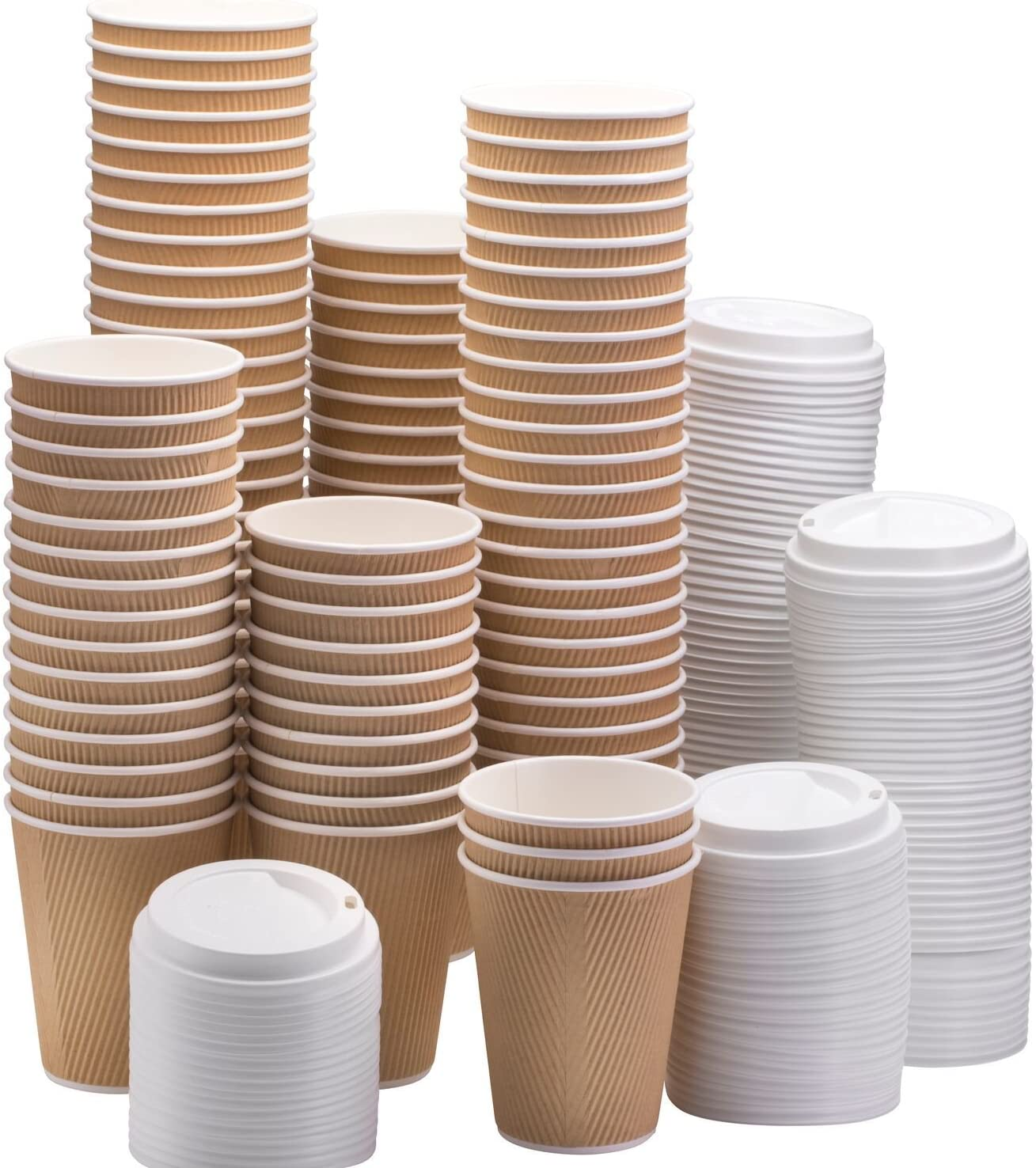 NYHI Set of 100 All items in the store Brown Disposable wholesale Lids with Paper Cups 16- White