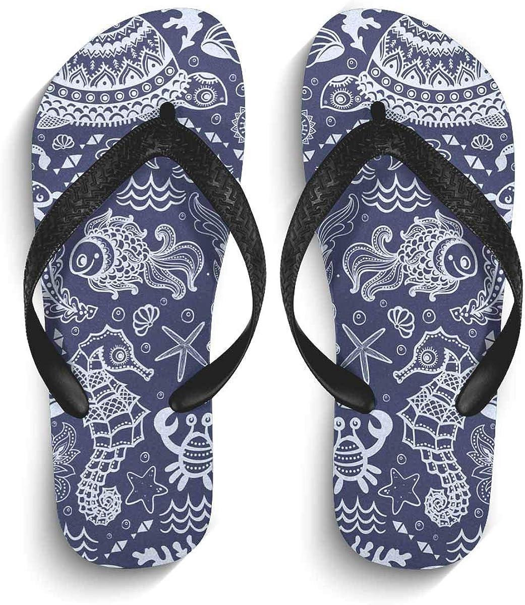 InterestPrint Men's Non-Slip Flip Flops Cherry Blossom Unicorn Thongs Sandals for Beach Lounging Home
