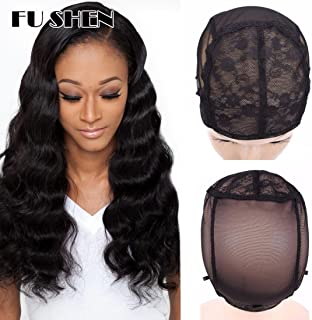 FU SHEN Wig Cap, Black Double Lace Wig Caps for Making Wigs with Adjustable Straps and Combs, Glueless Wig Cap for Big Head for Women(Black, M)