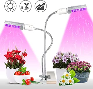 KINGBO Newest 50W Led Grow Light for Indoor Plants, Super Bright 100 LEDs Red-Blue Full Spectrum Grow Lamp, Dual Head Gooseneck Desk Plant Light with 2-Switch, Replaceable Bulb (2019 Update)
