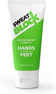 SweatBlock Antiperspirant Lotion for Hands Feet, Proven to Reduce Excessive Sweating, Reduce Hand Foot Sweat Smelly Feet, Safe Effective, FDA Compliant Anti Sweat Lotion for Women Men, 50mL