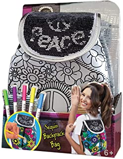 Best AMAV Toys DIY Personalize Paintable Reversible Sequins Backpack for Girls - Create Your Own School Bag with A Zipper - Perfect Birthday Activity for Crafty Kids Aged 6+, Multicolor Review