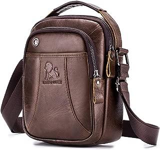 Men's Shoulder Bag, Popoti Handbag Crossbody Bag Leather Shopping School Backpack Messenger Carrying Bags Tote Purse Multifunction Small Pocktes (Brown)