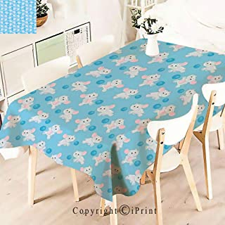 Modern Decor Tablecloth, Elephant Cartoon Playing Ball Kids Children,Graphic Fusion Artwork, Dining Room Kitchen Rectangular Table Cover,W55 xL71,