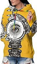 Junkate Women's Crystal Ball Tattoo Allover Print Pullovers Tattoo Style Inner Fleece with Kangaroo Pocket
