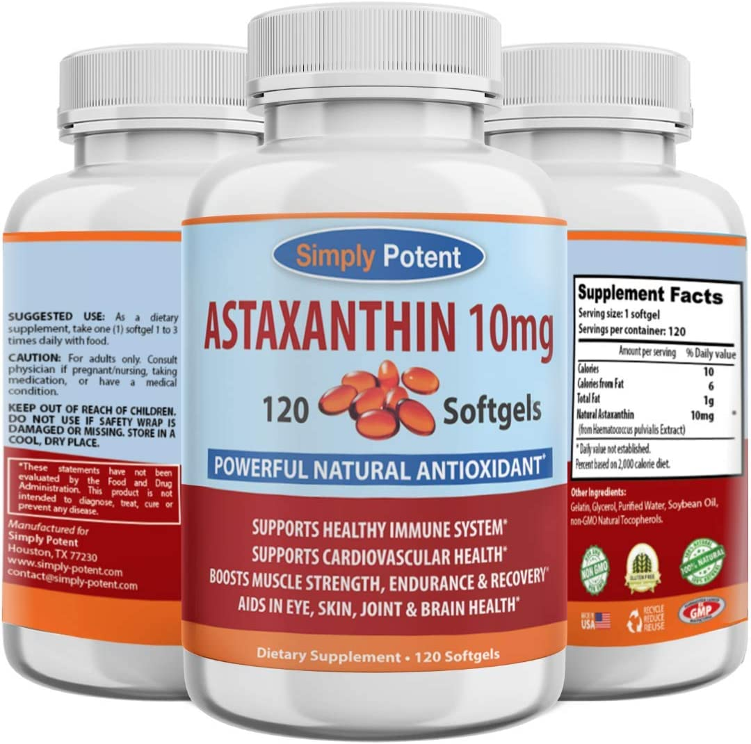 Astaxanthin 10mg 100% quality warranty 120 Softgels At the price High Triple Anti Potency Strength