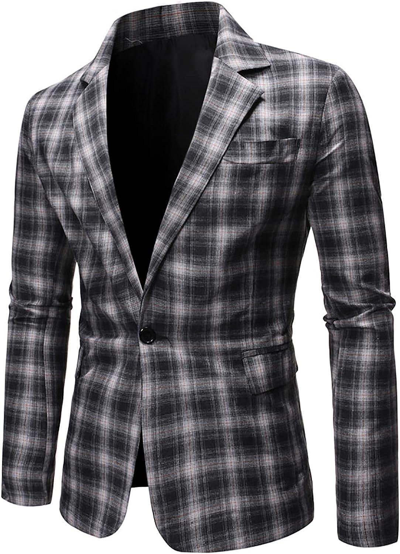 Bravetoshop Men's Suit Casual Plaid One Button Blazer Jackets Business Work Slim Fit Suit Jacket